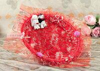 婚禮小物推薦到一定要幸福哦~~幸福對熊煙盤、喜糖盤(紅色) ~ 婚禮小物、喜糖盤、結婚宴客