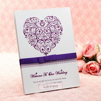 一定要幸福哦~~真心之心簽名本(紫)、簽名冊、結婚用品、結婚宴會