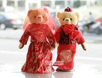 婚禮小物推薦到一定要幸福哦~~中國風婚紗對熊(整組含支架) 、婚禮小物、生日禮、婚禮佈置