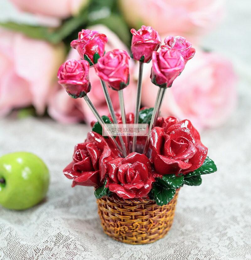 一定要幸福哦~浪漫玫瑰水果叉 1組6支 ~婚禮小物、派對、生日、送客禮