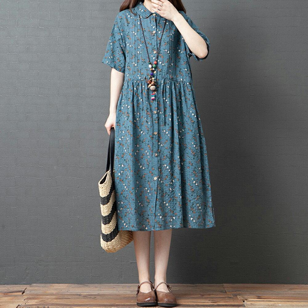 韓版拼接顯瘦收腰印花連身裙(2色M~2XL)*ORead* 0
