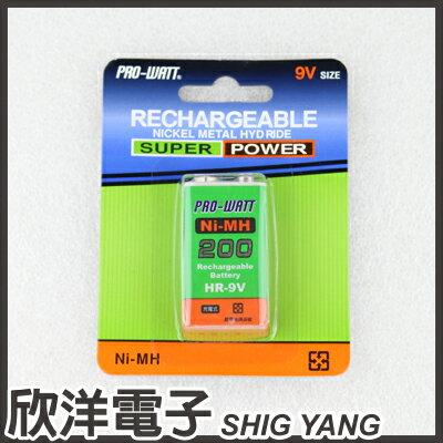 <br/><br/>  ※ 欣洋電子 ※ PRO-WATT 方形9V鎳氫充電電池1入HR-9V(200) 容量200mAh<br/><br/>