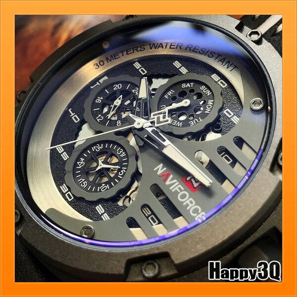 男士手錶大錶多功能三眼手錶皮帶錶日期潮流錶顯示男錶-紅白棕咖【AAA4300】