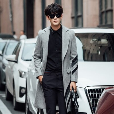 風衣外套長版毛呢大衣-紳士品味時尚翻領男外套2色73ip36【獨家進口】【米蘭精品】
