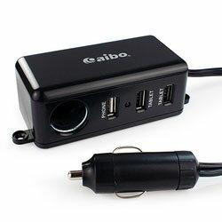 【迪特軍3C】aibo AB437 車用帶線點煙器擴充座(3埠USB+點煙孔+1M延長線) (IP-C-AB437)