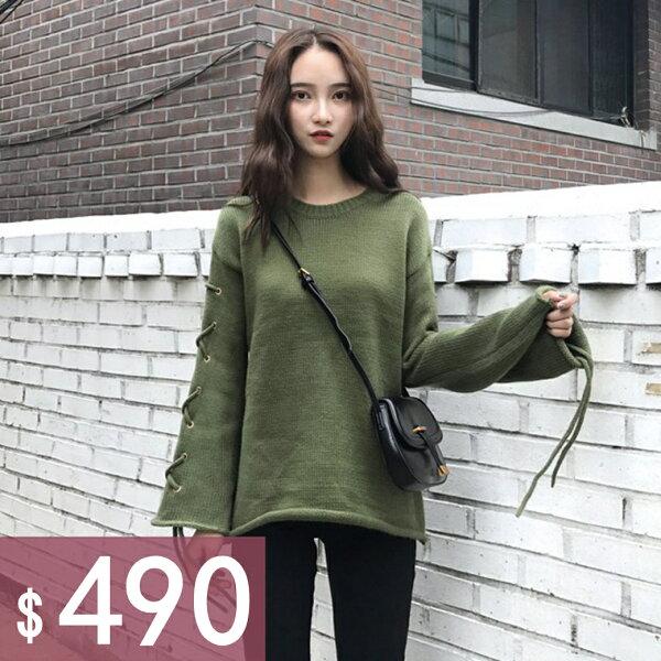零國界:圓領時尚袖子綁帶簡約素色長袖針織上衣