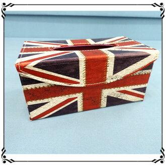 掀蓋磁扣面紙盒《LD43》英倫風 英國國旗皮革面紙盒 紙巾盒 收納盒 新居落成◤彩虹森林◥
