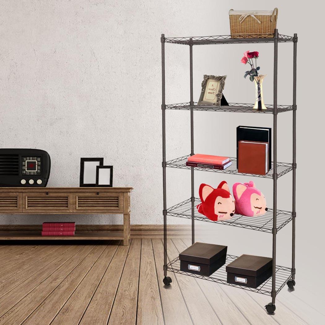 "5-Shelf Wire Shelving Rack Shelves with Wheels 14 x 29 x 61"" 1"