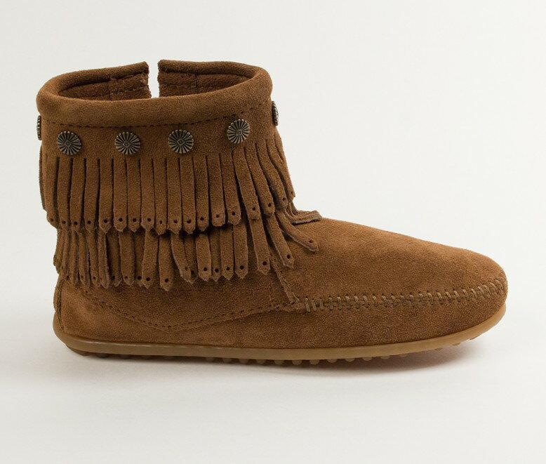 【Minnetonka 莫卡辛】深棕色 - 雙層麂皮流蘇踝靴【全店免運】 2