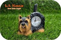 愚人節 KUSO療癒整人玩具周邊商品推薦La Kasa~ 仿真可愛動物療癒系列-擺尾桌上時計-約克夏