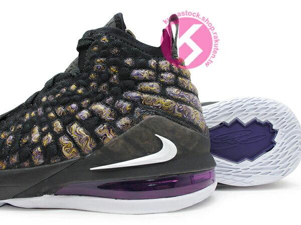 2019-2020 NBA 最新款 LeBRON JAMES 最新代言 NIKE LEBRON XVII GS 17 LAKERS 大童鞋 女鞋 黑紫黃 FLYKNIT 飛織鞋面 前 ZOOM AIR 後 MAX 氣墊 小皇帝 雷霸龍 KING LAKERS 頂級科技 籃球鞋 (BQ5594-004) 1019 3