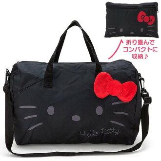 【真愛日本】17021500003 可折疊波士頓包-KT大臉黑+AAB  三麗鷗 Hello Kitty 凱蒂貓 購物袋