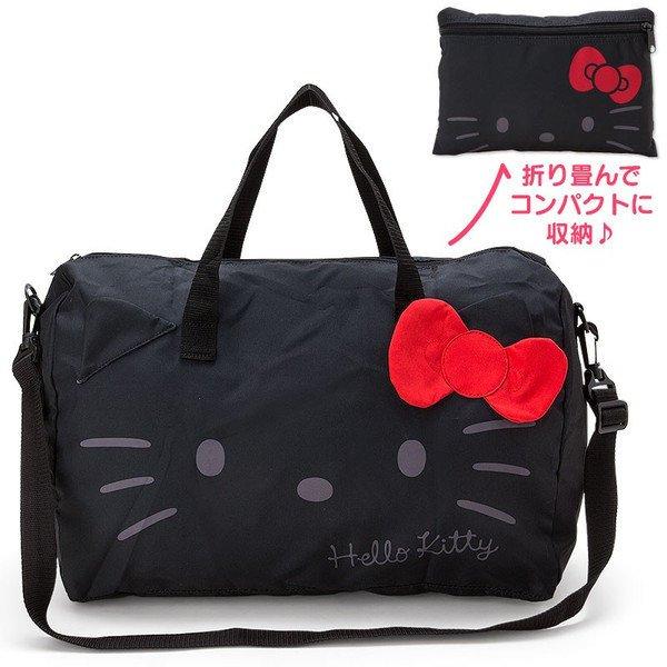 【真愛日本】17021500003可折疊波士頓包-KT大臉黑三麗鷗HelloKitty凱蒂貓購物袋