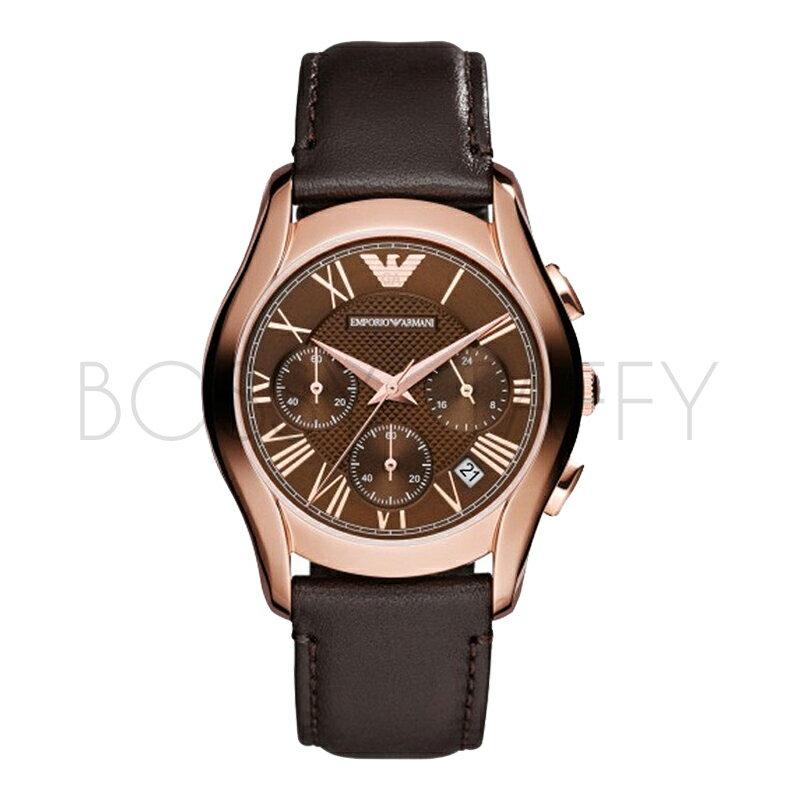 AR1707 ARMANI 亞曼尼 時尚三眼玫瑰金皮帶石英錶 男錶