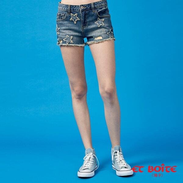【春夏新品】五角星立體彈性丹寧短褲(牛仔藍)-BLUEWAYETBOiTE箱子