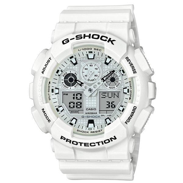 CASIO卡西歐G-SHOCKGA-100MW-7A白色主題雙顯時尚腕錶