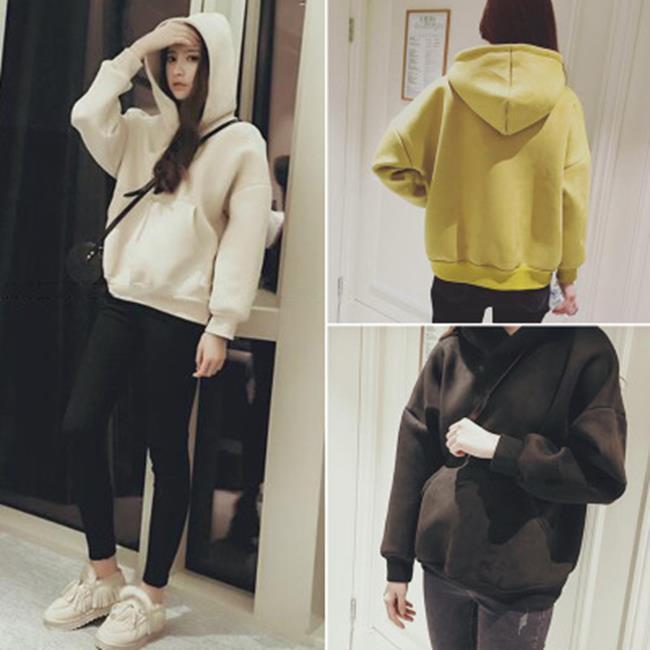 50^%OFF~G020565C~2016 純色袋鼠袋連帽女式衛衣寬鬆型加絨套頭 ~  好