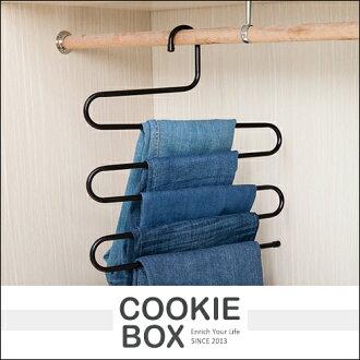 衣櫃 多功能 S型 魔術 鐵藝 衣帽架 隨機出貨 衣架 褲架 圍巾架 收納 晾衣 省空間 *餅乾盒子*