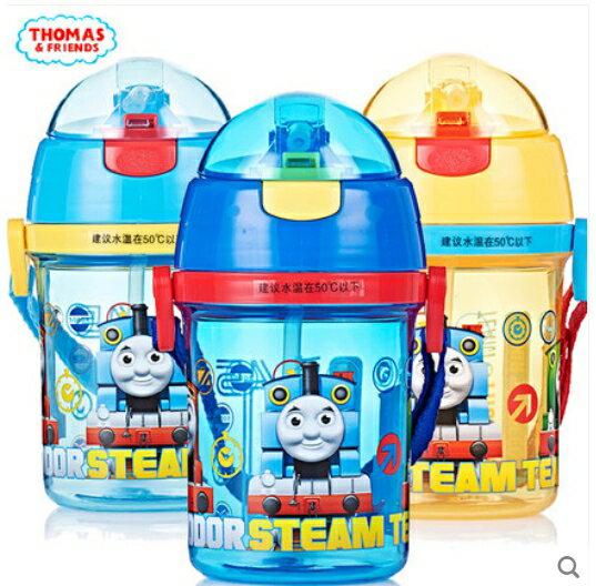 正版THOMAS湯瑪士小火車兒童吸管水杯防漏背帶400ml水壺ST7061