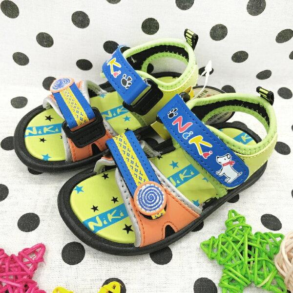 【巷子屋】童款可調式運動涼鞋MIT台灣製造[16045]藍色超值價$150