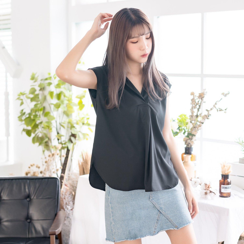 氣質襯衫--氣質優雅OL無袖寬鬆襯衫領修飾弧線下擺上衣(黑.紅M-3L)-H182眼圈熊中大尺碼 1