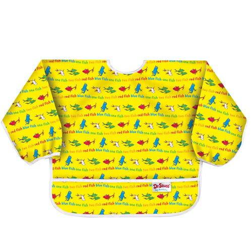 【淘氣寶寶】2016年最新【美國Bumkins】小童(6-24月)長袖防水圍兜-小魚 BKSU-F01【保證公司貨】