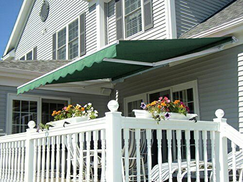 MCombo 13x8 Ft Manual Retractable Patio Deck Awning Sunshade Shelter  Outdoor Canopy 0