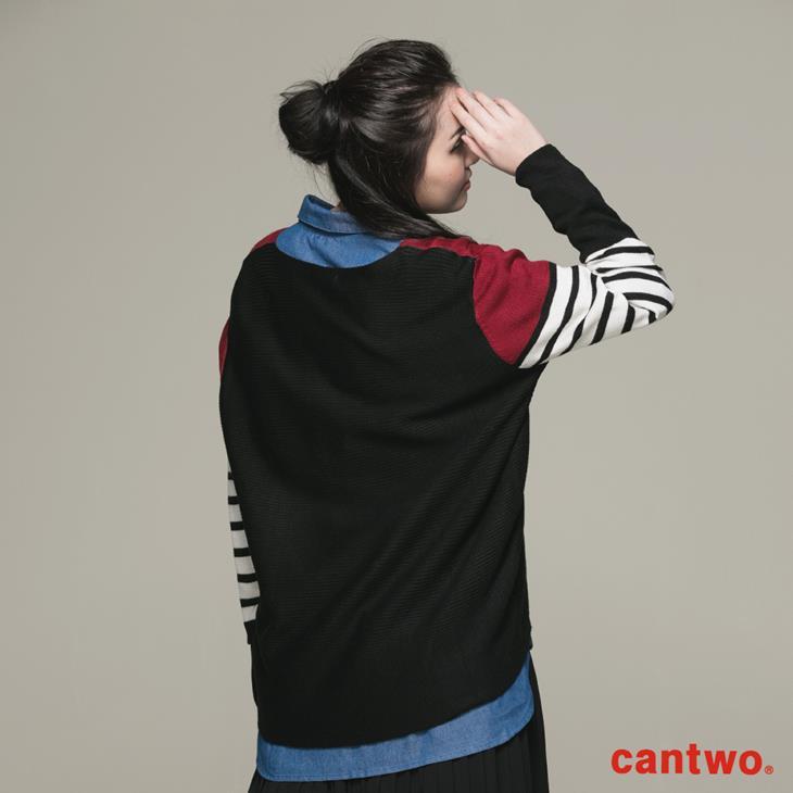 cantwo條紋拼接長袖針織上衣(共二色) 3