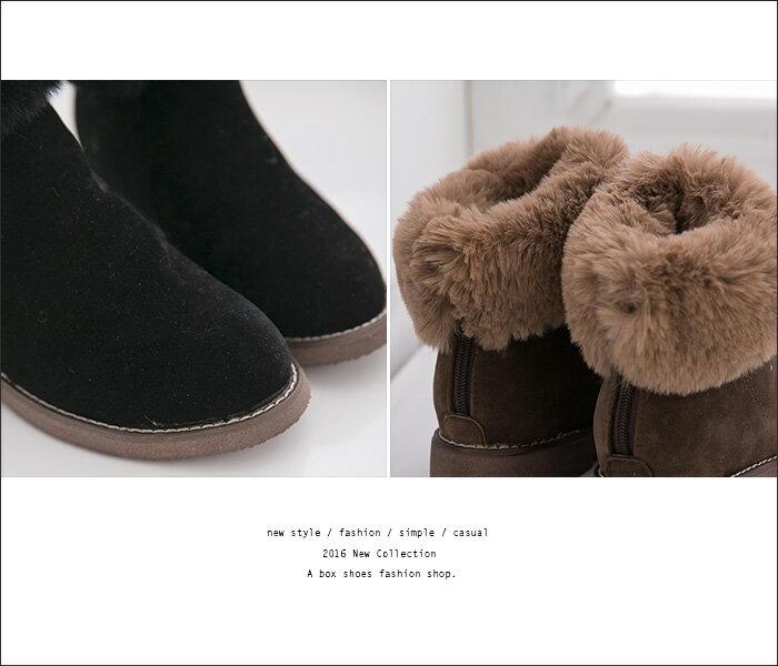 ★399免運★格子舖*【KS9391】寒冬保暖刷毛 柔軟舒適造型雪靴 反摺毛茸茸粗低跟短靴 短筒靴 2色 1