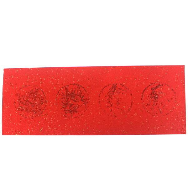 紅宣紙 四言圖騰春聯紅紙 DIY空白金點萬年紅春聯紙/一包100張入{定1500}~25.5cm x 68.5cm 大門聯紙