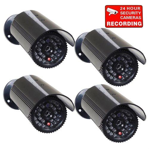 VideoSecu 4 Dummy Imitation CCTV Security Surveillance Cameras Fake Infrared LEDs Flashing Light 1QU 0