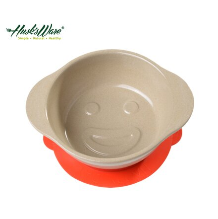 美國Husk's ware 稻殼天然無毒環保兒童微笑餐碗~紅色~悅兒園婦幼 館~