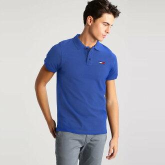 美國百分百【全新真品】Tommy Hilfiger Polo衫 TH 短袖 上衣 素面 網眼 大logo 寶藍 I387