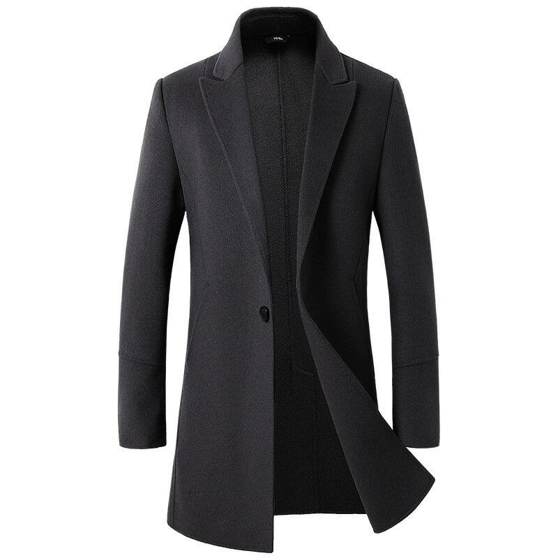 毛呢大衣中長版風衣-羊毛單粒扣純色修身男外套5色73wk39【獨家進口】【米蘭精品】 1