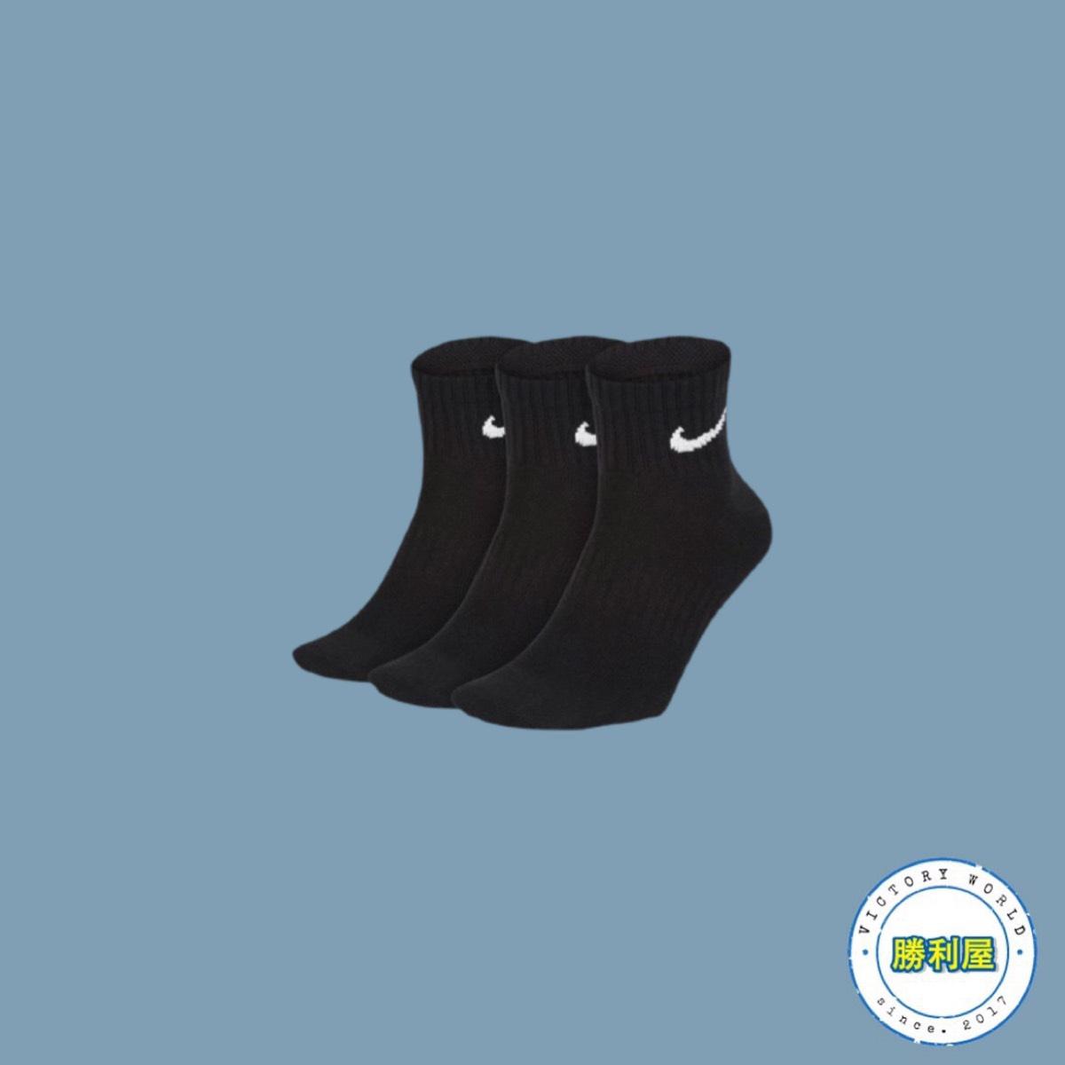 【滿3000現折300↘最高折$450】【NIKE】NIKE LIGHTWEIGHT QUARTER SOCKS CREW 襪子 中筒襪 黑 白 小LOGO 基本款 男女尺寸【勝利屋】