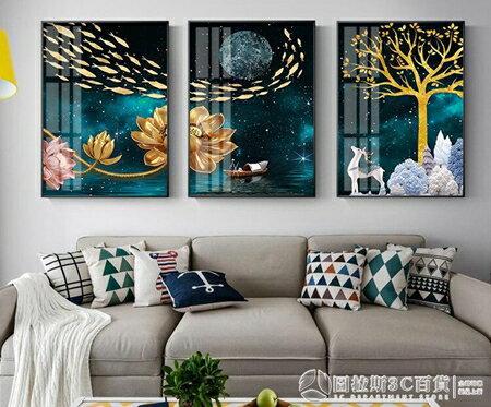 北歐客廳裝飾畫沙發背景牆畫招財風水現代簡約大氣高檔三聯畫掛畫    《圖拉斯》 清涼一夏钜惠