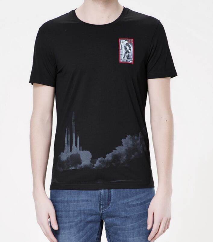 FINDSENSE MD 韓國 男 街頭 時尚 潮 登月圖案 LogoT恤 短袖T恤 特色T恤 圖案T