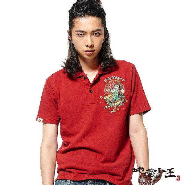 【春夏新品】雞年地藏乘雞短袖POLO衫(深紅)-BLUEWAYJIZO地藏小王