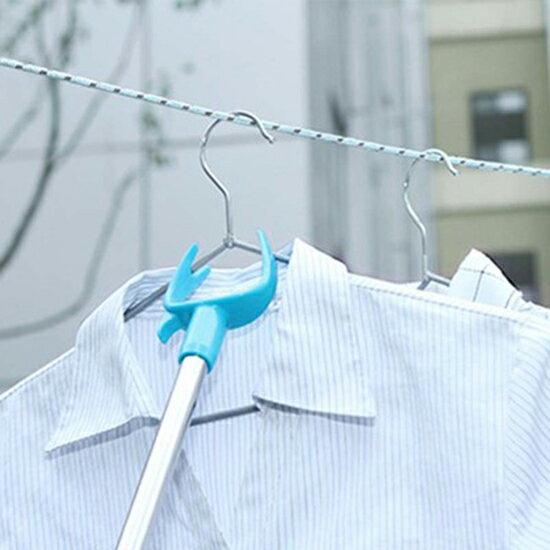 ♚MY COLOR♚ 不銹鋼伸縮晾衣叉 撐衣桿 晾衣叉 曬衣桿 叉棍 挑衣桿 晾衣桿 家用 衣桿叉 【W54】