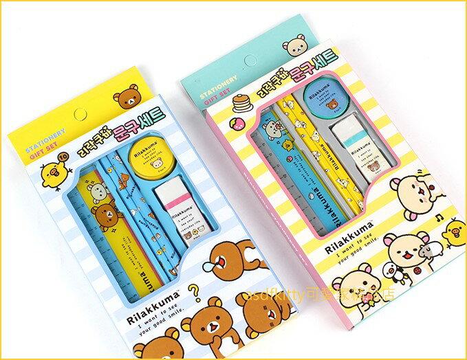 asdfkitty可愛家☆拉拉熊文具組-鉛筆.尺.橡皮擦.削筆器-2款包裝隨機出貨-韓國正版商品