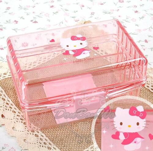kitty飾品珠寶小文具收納盒格層式粉透明拿愛心522988海渡 ~  好康折扣