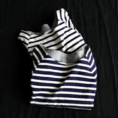 短袖T恤打底衫-經典條紋休閒百搭女上衣2色73sj43【獨家進口】【米蘭精品】