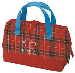 【真愛日本】17040100051  寬口拉鍊包-KT蘇格蘭紅FAC 三麗鷗 Hello Kitty 凱蒂貓 手提袋  便當袋 正品