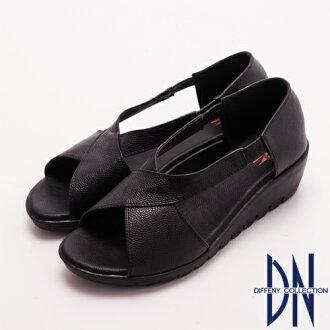 DN 極簡舒適-簡單素面牛皮交叉楔型涼鞋 黑