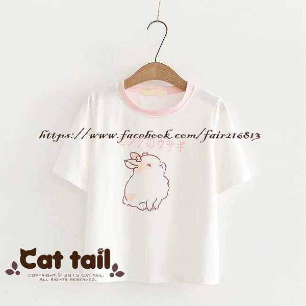 《貓尾巴》TS-0977 日系可愛卡通印花短袖T恤(森林系 日系 棉麻 文青 清新)