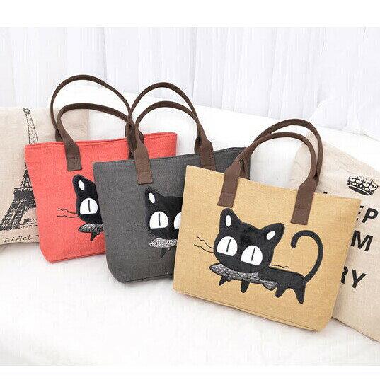 側背包.手提包.通勤包.旅行包~可愛小貓偷吃魚托特包~寶來小舖^( 附發票^)