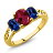 2.15 Ct Red Created Ruby Blue Simulated Sapphire 18K Yellow Gold Plated Silver 3-Stone Ring 0
