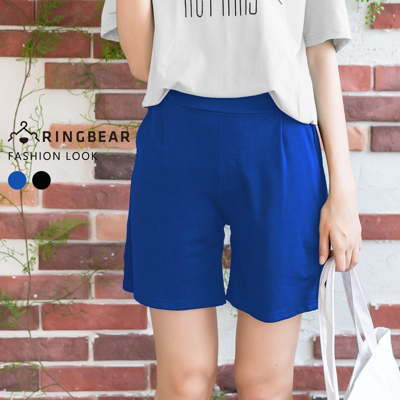 五分褲--韓版休閒舒適高腰打折修飾網布造型寬鬆口袋短褲(黑.藍XL-5L)-R215眼圈熊中大尺碼 0