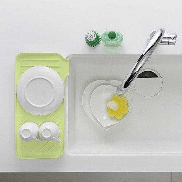 日本創意生活雜貨館:日本製造Richell銀離子雙面瀝水收納盤(蘋果綠色)