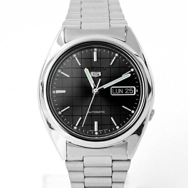 手錶 SEIKO黑色格紋機械錶 【NES11】柒彩年代